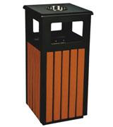 四投口带盖烟灰钢木垃圾桶 HC3028,四投口钢木垃圾桶,烟灰缸木垃圾桶,带盖防腐钢木垃圾桶