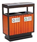 方形钢木分类垃圾桶 HC3202,钢木垃圾桶,分类垃圾桶,户外垃圾桶,木条垃圾桶,木条分类垃圾桶