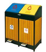 脚踏翻盖钢木垃圾桶 HC3206,脚踏垃圾桶,钢木垃圾桶,分类垃圾桶,翻盖垃圾桶