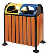 方形大容积钢木分类垃圾桶 HC3207,钢木垃圾桶,分类垃圾桶,户外垃圾桶,木条垃圾桶,木条分类垃圾桶