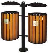 圆盖钢木分类垃圾桶 HC3211