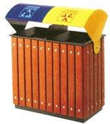两分类钢木垃圾桶 HC3213,钢木垃圾桶,分类垃圾桶,户外垃圾桶,木条垃圾桶,木条分类垃圾桶
