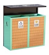 墙体式钢木分类垃圾桶 HC3215,钢木垃圾桶,分类垃圾桶,户外垃圾桶,木条垃圾桶,木条分类垃圾桶