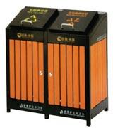 拉手挡板钢木分类垃圾桶 HC3216,钢木垃圾桶,分类垃圾桶,户外垃圾桶,木条垃圾桶,木条分类垃圾桶