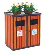 装饰钢木分类垃圾桶 HC3217,钢木垃圾桶,分类垃圾桶,户外垃圾桶,木条垃圾桶,木条分类垃圾桶