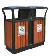 街道钢木分类垃圾桶 HC3219,钢木垃圾桶,分类垃圾桶,户外垃圾桶,木条垃圾桶,木条分类垃圾桶
