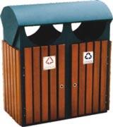 四口投放钢木分类垃圾桶 HC3223,钢木垃圾桶,分类垃圾桶,户外垃圾桶,木条垃圾桶,木条分类垃圾桶