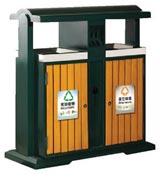 站式钢木分类垃圾桶 HC3224,钢木垃圾桶,分类垃圾桶,户外垃圾桶,木条垃圾桶,木条分类垃圾桶