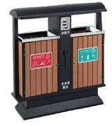 常用钢木分类垃圾桶 HC3225,钢木垃圾桶,分类垃圾桶,户外垃圾桶,木条垃圾桶,木条分类垃圾桶