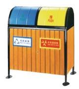 双色盖板钢木分类垃圾桶 HC3226,钢木垃圾桶,分类垃圾桶,户外垃圾桶,木条垃圾桶,木条分类垃圾桶