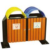 双色钢木分类垃圾桶 HC3228,钢木垃圾桶,分类垃圾桶,户外垃圾桶,木条垃圾桶,木条分类垃圾桶