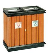 开口式钢木分类垃圾箱 HC3229,钢木垃圾桶,分类垃圾桶,户外垃圾桶,木条垃圾桶,木条分类垃圾桶