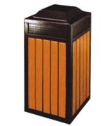 带盖防臭气孔钢木垃圾桶 HC3033,带盖钢木垃圾桶,气孔钢木垃圾桶,钢木垃圾桶单桶