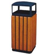 四侧投口带盖钢木垃圾桶单桶 HC3035,四侧投口钢木垃圾桶,带盖钢木垃圾桶,钢木垃圾桶单桶