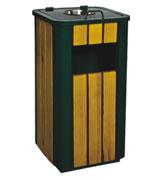 侧投口烟灰方形钢木垃圾桶 HC3041,侧投口钢木垃圾桶,方形钢木垃圾桶,烟灰钢木垃圾桶
