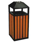 四投口锥形顶盖烟灰钢木垃圾桶 HC3030,锥形顶盖钢木垃圾桶,四投口钢木垃圾桶,烟灰钢木垃圾桶