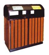 敞口钢木分类垃圾桶 HC3230,钢木垃圾桶,分类垃圾桶,户外垃圾桶,木条垃圾桶,木条分类垃圾桶