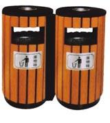 双圆筒钢木分类垃圾桶 HC3231,钢木垃圾桶,分类垃圾桶,防腐木垃圾桶,木条垃圾桶,木条分类垃圾桶