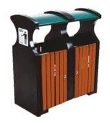 宽口加盖钢木分类垃圾桶 HC3233,钢木垃圾桶,分类垃圾桶,户外垃圾桶,木条垃圾桶,木条分类垃圾桶