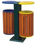 圆筒钢木分类垃圾桶 HC3234,钢木垃圾桶,分类垃圾桶,圆筒垃圾桶,木条垃圾桶,木条分类垃圾桶