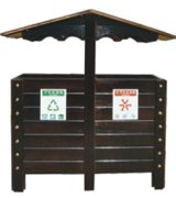 雨伞形钢木分类垃圾桶 HC3235,钢木垃圾桶,分类垃圾桶,户外垃圾桶,木条垃圾桶,木条分类垃圾桶