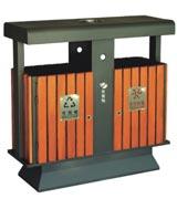 街道钢木分类垃圾桶 HC3236,钢木垃圾桶,分类垃圾桶,户外垃圾桶,木条垃圾桶,木条分类垃圾桶