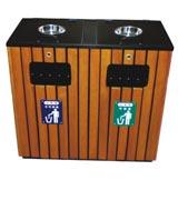 挡板烟灰缸钢木分类垃圾桶 HC3238,钢木垃圾桶,分类垃圾桶,烟灰缸垃圾桶,木条垃圾桶,木条分类垃