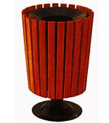 上投口酒杯式钢木垃圾桶单桶 HC3048,上投口钢木垃圾桶,酒杯式钢木垃圾桶,圆形钢木垃圾桶