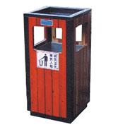 四侧投口方形钢木垃圾桶单桶 HC3049,四侧投口钢木垃圾桶,方形钢木垃圾桶,带盖钢木垃圾桶