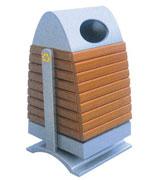 上投口带盖坐地钢木垃圾桶单桶 HC3051,上投口钢木垃圾桶,带盖钢木垃圾桶,钢木垃圾桶单桶