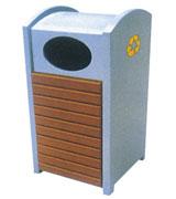 侧投口带盖方形钢木垃圾桶单桶 HC3052,侧投口钢木垃圾桶,方形钢木垃圾桶,带盖钢木垃圾桶