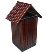 双侧投口带盖钢木垃圾桶单桶 HC3061,双侧投口钢木垃圾桶,带盖钢木垃圾桶,方形钢木垃圾桶