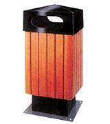 双侧投口带盖坐地方形钢木垃圾桶 HC3070,双侧投口钢木垃圾桶,带盖钢木垃圾桶,方形钢木垃圾桶