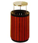 带盖圆形木条垃圾桶 HC3071,带盖钢木垃圾桶,上投口钢木垃圾桶,圆形钢木垃圾桶