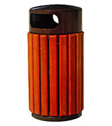 双侧投口圆形坐地带盖钢木垃圾桶 HC3072,双侧投口钢木垃圾桶,圆形带盖钢木垃圾桶,坐地钢木垃圾桶