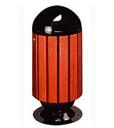双侧投口坐地圆形带盖钢木垃圾桶 HC3073,双侧投口钢木垃圾桶.坐地钢木垃圾桶,带盖钢木垃圾桶