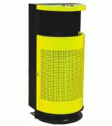 带烟缸靠墙式冲孔垃圾桶 HC2020,钢制垃圾桶,单筒垃圾桶,烟灰盅垃圾桶