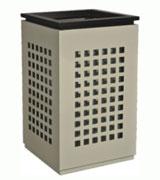 方格钢制垃圾桶 HC2031,钢制垃圾桶,单筒垃圾桶,方形垃圾桶