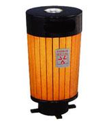 圆柱形侧投口烟灰盅坐地钢木垃圾桶 HC3075,圆柱形垃圾桶,烟灰钢木垃圾桶,侧投口钢木垃圾桶