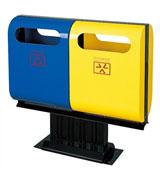 双侧头托盘钢制垃圾桶分类桶 HC2200,双侧投口钢制垃圾桶,托盘钢制垃圾桶,钢制垃圾桶分类桶