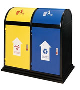 坐地式带盖钢制分类垃圾桶 HC2201,坐地式分类钢制垃圾桶,带盖分类钢制垃圾桶,侧投口分类钢制垃圾桶