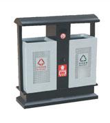 双侧投口带盖坐地式烟灰钢制垃圾桶 HC2203,双侧投口钢制垃圾桶,坐地式钢制垃圾桶,通气孔钢木垃圾桶