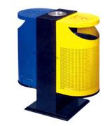 双侧投口圆形烟灰坐地钢制垃圾桶 HC2213,双侧投口钢制垃圾桶,圆形钢制垃圾桶,冲桩孔钢制垃圾桶