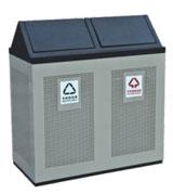 全封闭式坐地方形钢制分类垃圾桶 HC2219,全封闭式钢制垃圾桶,坐地钢制垃圾桶,钢制分类垃圾桶
