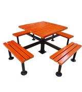 公园 园林休闲椅 休闲桌 HCY005,公园休闲椅,园林休闲椅,防腐木休闲椅,带桌子休闲椅
