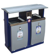 带盖双侧投口烟灰盅钢制垃圾桶 HC2232,带灭烟盒钢制垃圾桶,烟灰钢制垃圾桶,钢制分类垃圾桶