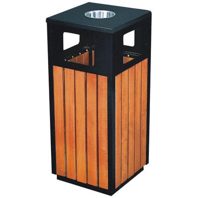 带烟灰缸方形钢木垃圾桶