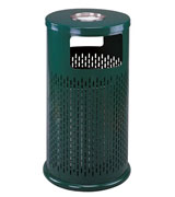圆形冲孔垃圾桶 HC2009,钢制单桶垃圾桶,金属果皮箱,户外垃圾桶,走廊垃圾箱