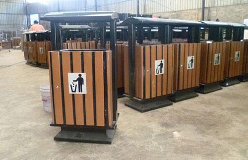 方形带盖单筒钢木垃圾桶木条果皮箱