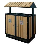 【环畅品牌】三角顶钢木分类垃圾桶 防腐木分类果皮箱 HC3204